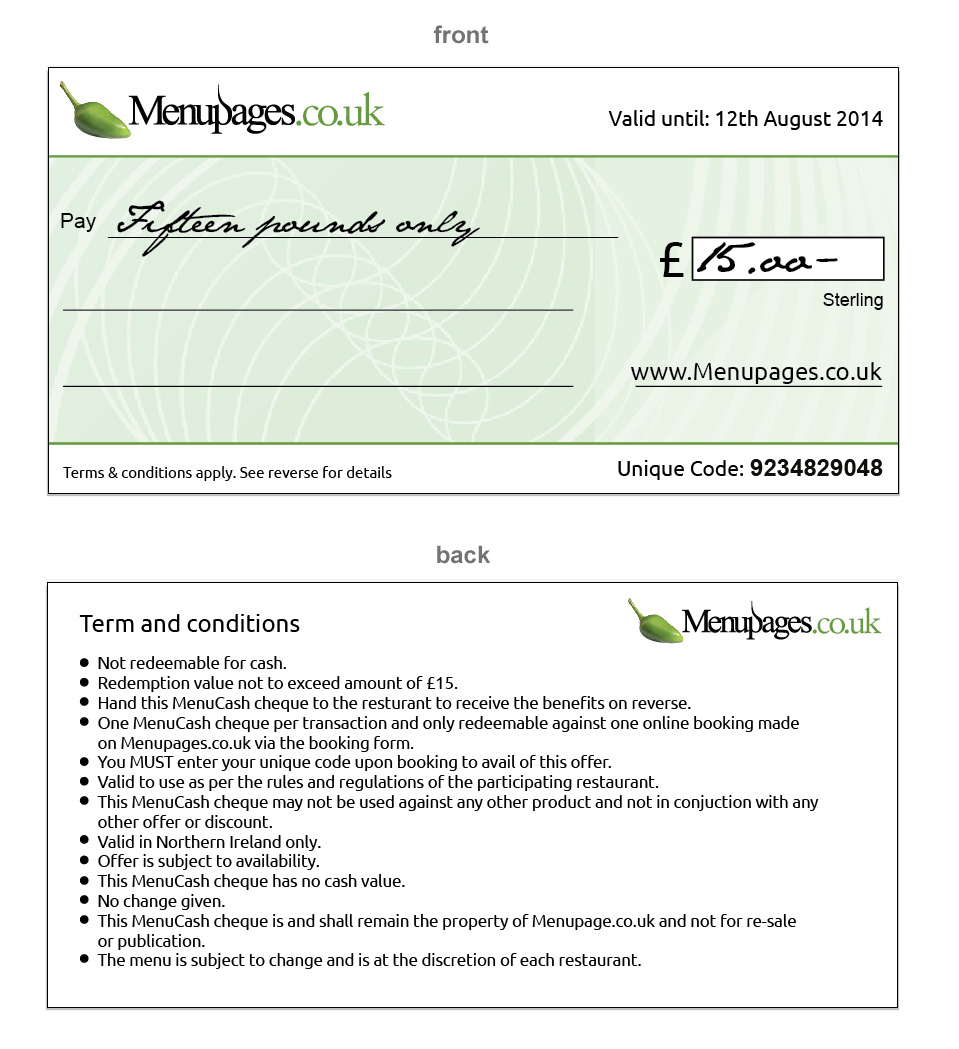 Menucash Cheque Sample
