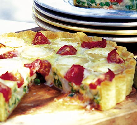 Vegetable & goat's cheese quiche