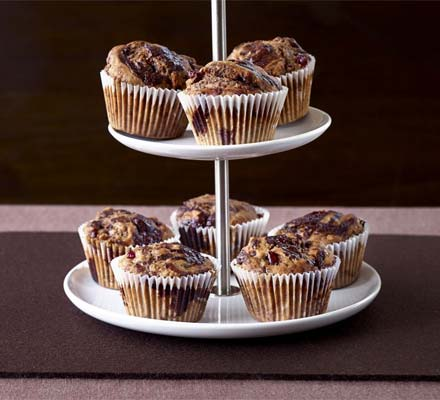 Chocolate & cranberry muffins
