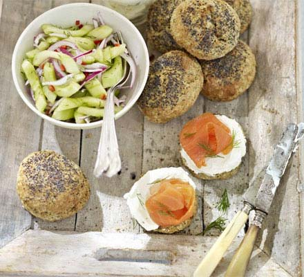 Scones with smoked salmon and dill