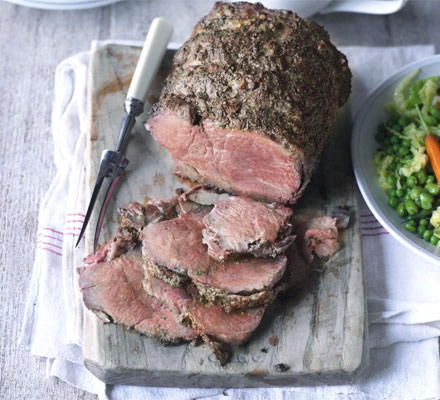 Roast beef with caramelised onion