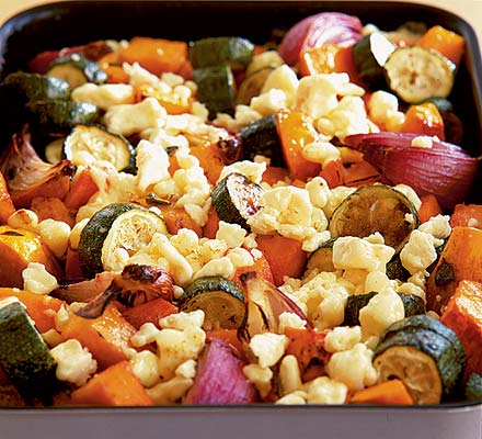 Roasted vegetables with Lancashire cheese