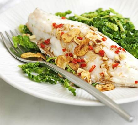 Steamed seabass with cabbage