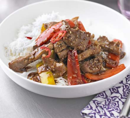 Pork & pepper stir-fry