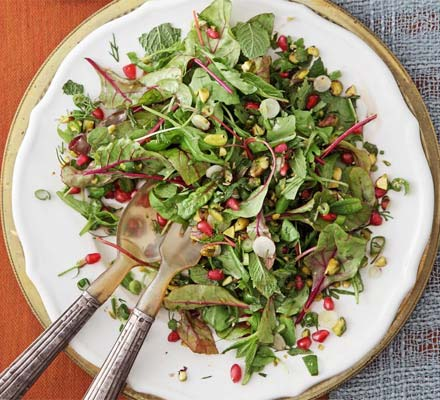 Herb salad with pomegranate