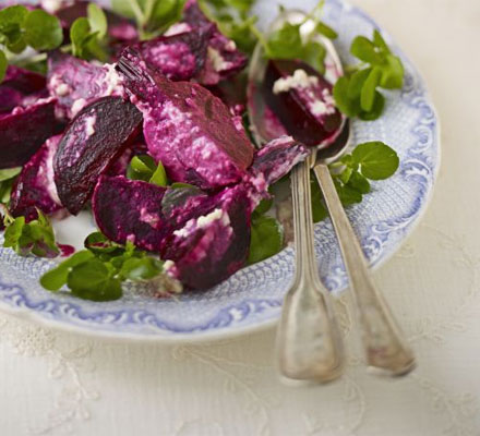 Roasted beets with watercress