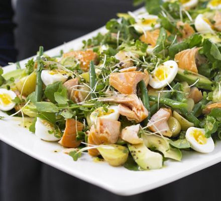 Hot-smoked salmon, double cress & potato salad platter