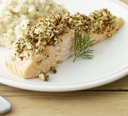 Salmon with celeriac mash