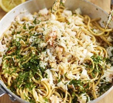 Crab linguine with chilli
